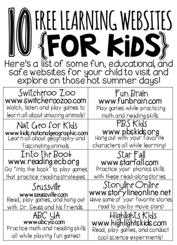 Sites for kiddos